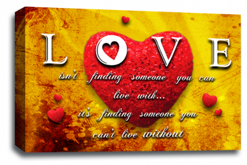 Love Heart Wall Art Picture Quote Red Yellow Grey Canvas Print